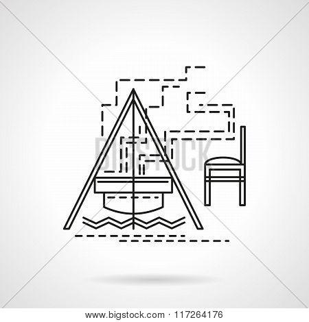 Campfire flat line vector icon