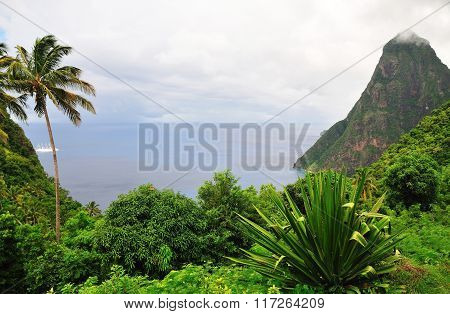 Cruise Ship Approaches Piton