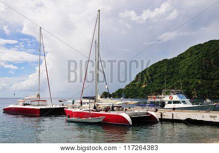 Boats And Catamarans Anchored