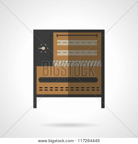 Food processing equipment flat vector icon. Oven