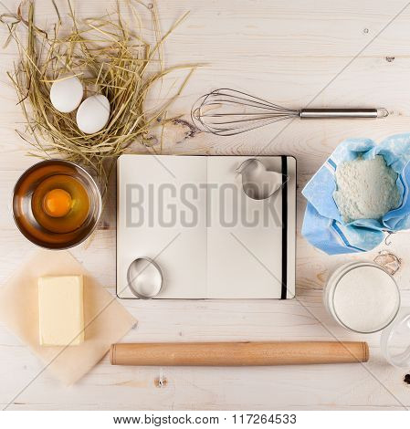 Ingredients for the dough and baking