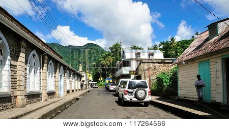 Cars Parked By Roadside In Soufriere