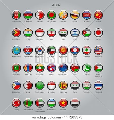 Set of round glossy flags of all sovereign countries of Asia with captions in alphabet order.  Contain the Clipping Path of all buttons