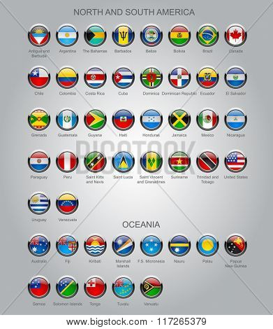 Set of round glossy flags of sovereign countries of North and South America continents and Oceania.  Contain the Clipping Path of all buttons