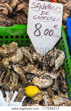 Oysters Market In Cancale, France