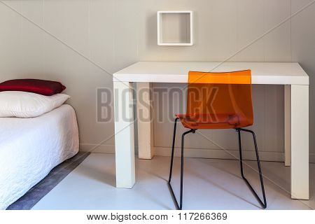 Bed, Table And Chair, Scene In Apartments