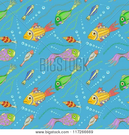 Vector seamless pattern with fishes, seaweeds and bubbles