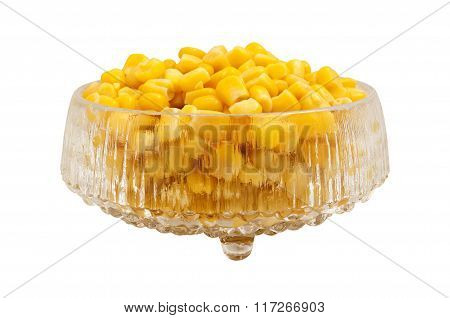 Sweet Corn In A Crystal Dish, Isolated.