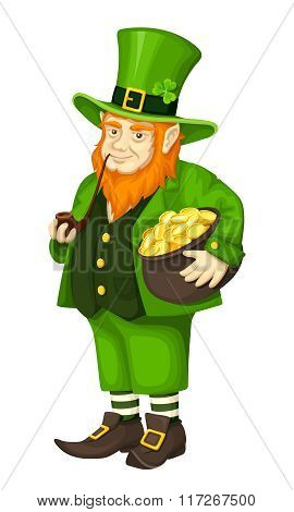 Irish leprechaun with pot of gold and pipe. Vector illustration.