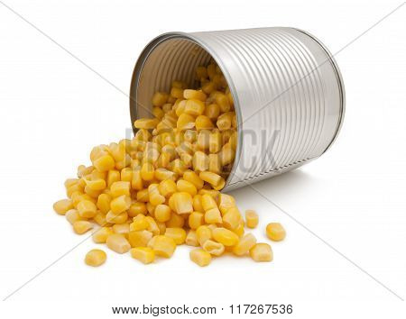 Open Tin Can Of Corn, Isolated.