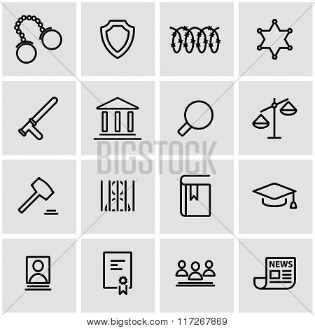 Vector Line Justice Icon Set
