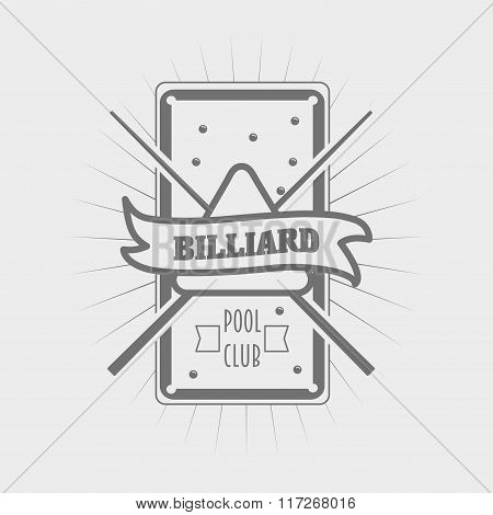 Vector Billiards Symbol In Vintage Style, Pool Sign