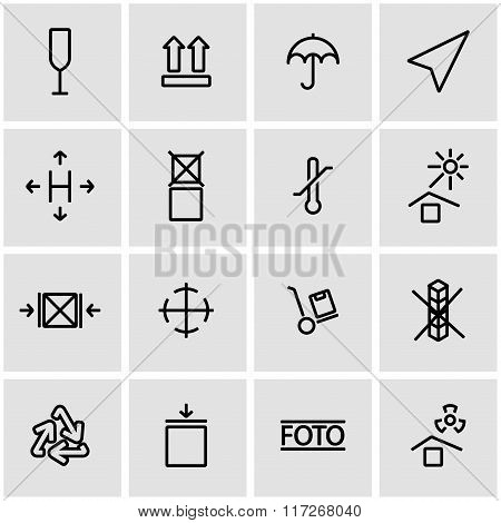 Vector Line Marking Of Cargo Icon Set