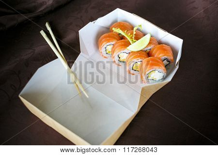 set of sushi, Japanese, in a box, with chopsticks
