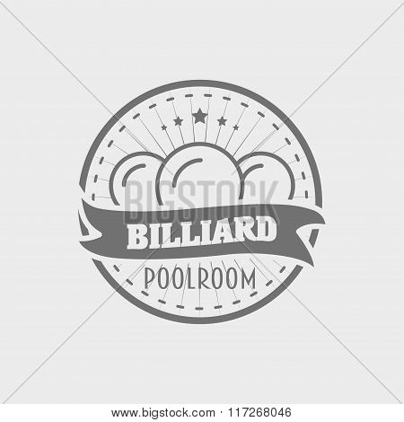 Billiard Poolroom Logo, Label Or Badge Concept