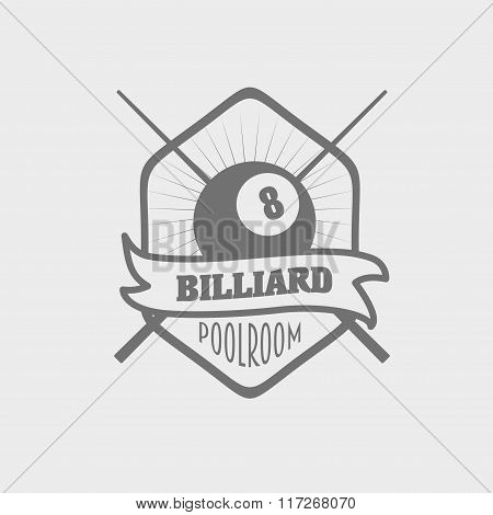Monochrome Pool Billiards Logo, Label, Badge. Vector Illustration.