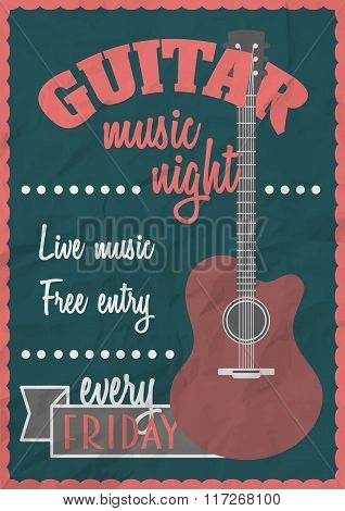 Vector Retro Vintage Poster Concept With Acoustic Guitar. Rock Concert Design Template. Can Be Used
