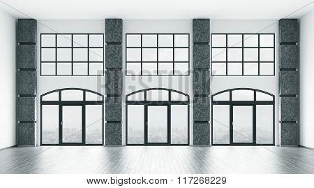 Empty Interior With Big Windows 3D Render