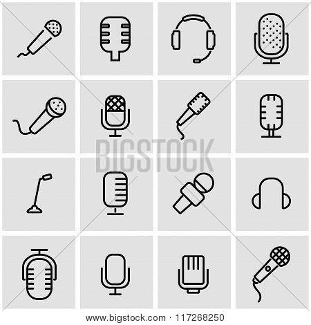 Vector Line Microphone Icon Set