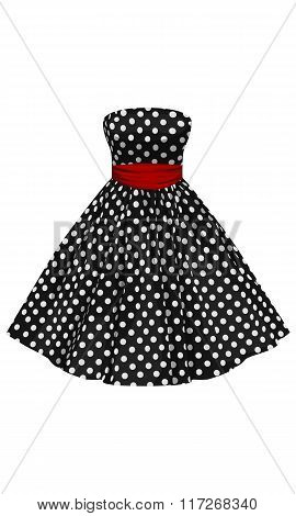 Vector Black Dress With White Polka Dots