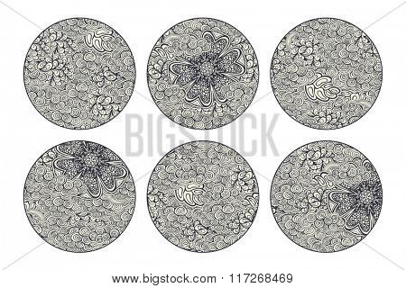Vector circle backgrounds, black and white version