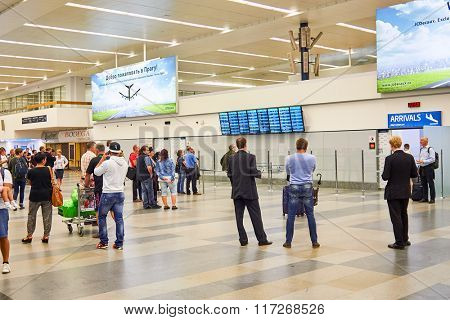 PRAGUE, CZECH REPUBLIC - AUGUST 18, 2015: airport of Prague interior. International airport of Prague is major airport of Czech Republic
