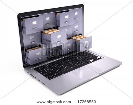 File Cabinets inside the screen of laptop isolated on white