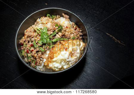 Thai Faverite Food Pork Fried Rice And Fried Egg