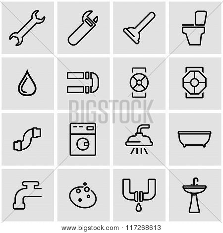 Vector Line Plumbing Icon Set