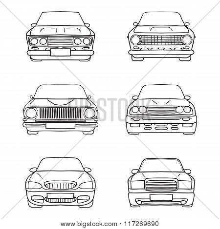 Set of abstract retro car silhouette background - Front view.
