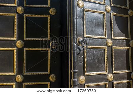 Open Old Door To The Orthodox Church. Religion