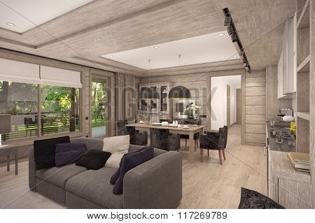 3D rendering of  living room of a country house