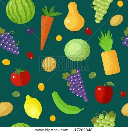 Fruits And Vegetables Seamless Pattern. Healthy Eating Concept