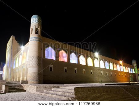 Uzbekistan. Khiva. Streets of the old city in night illumination.
