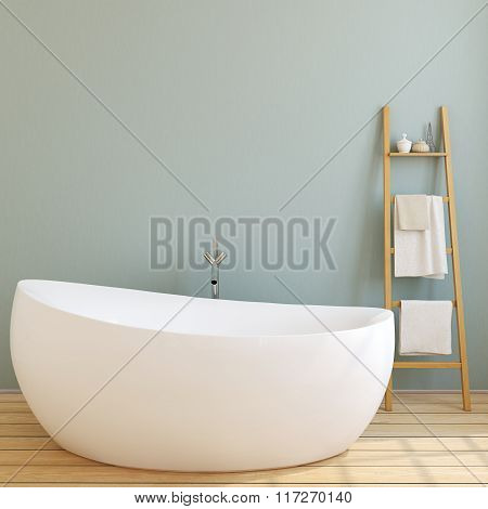 Modern Bathroom. 3D Rendering.