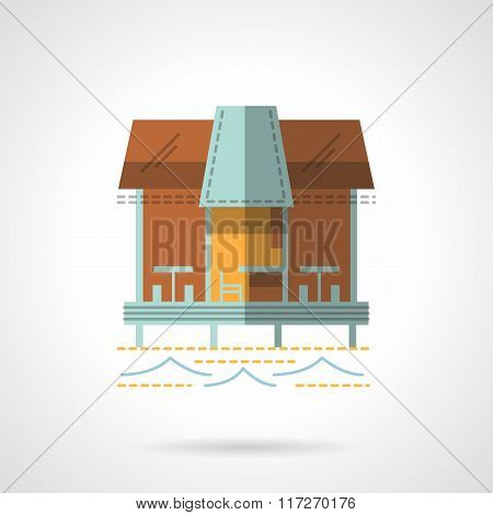 Jetty with cafe flat vector icon