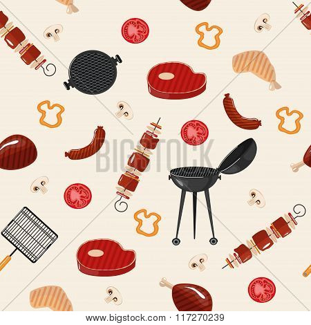 Grill Barbecue Seamless Pattern. Grilled Food With Kitchen Tools