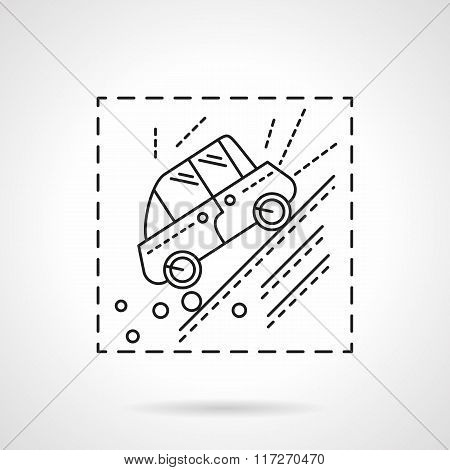 Car accident in the mountains line vector icon