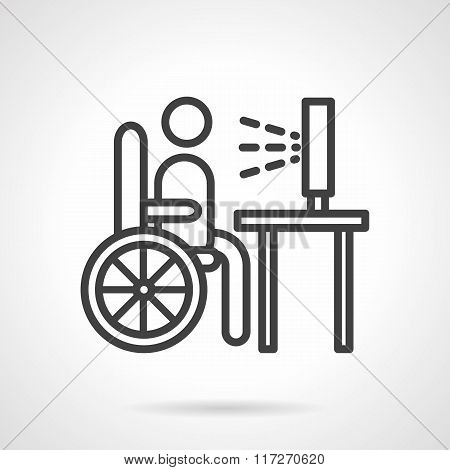 Job for disabilities black line vector icon