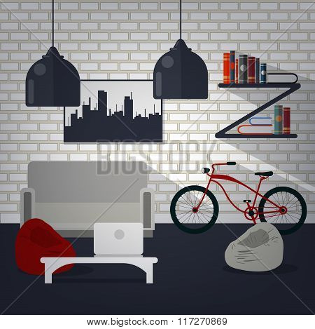 Modern Home Interior Of Living Room With Bycicle, Books And Laptop