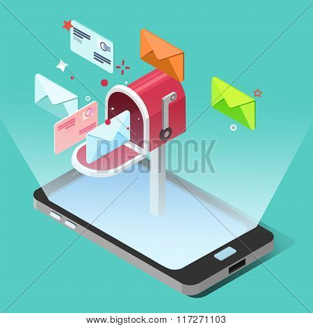 E-mail Marketing Concept In Isometric Style. Smart Phone With Letters