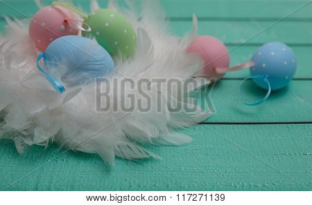 Painted Eggs With Fur, Easter Decoration