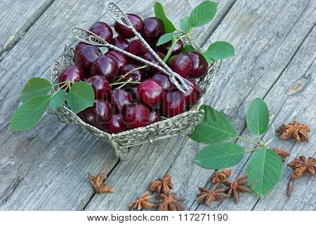 plate with cherries and green leaves