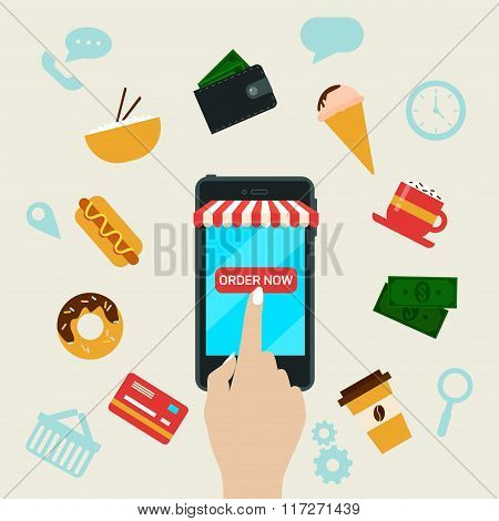 Ordering Fast Food Online By Smart Phone