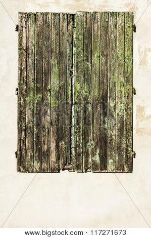 Old Green Wood Window