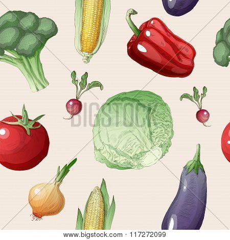 Vegetables Seamless Pattern In Vintage Style. Healthy Food