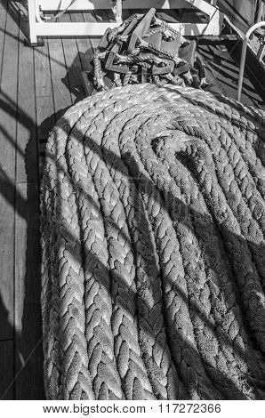 Ropes braided in bays on an ancient sailing vessel