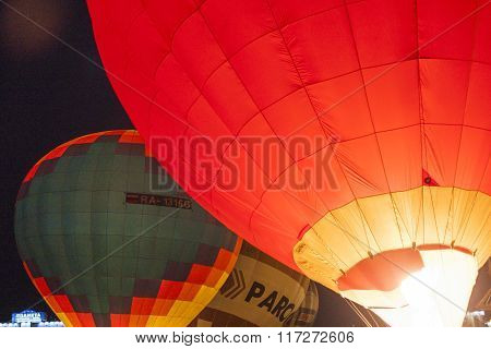 Minsk-belarus, July 19, 2015: International Air-balloons During Night Show And Glowing On  Internati