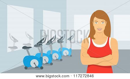 Personal Fitness Trainer Woman In Gym Illustration