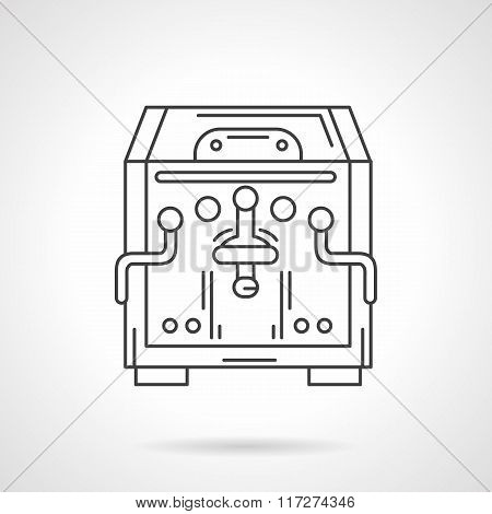 Flat line coffee machine vector icon. Coffee shop